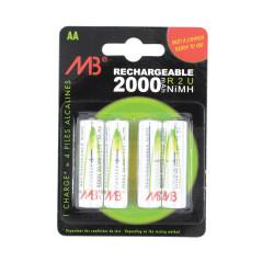 4 Piles rechargeables LR6 2000 mAh
